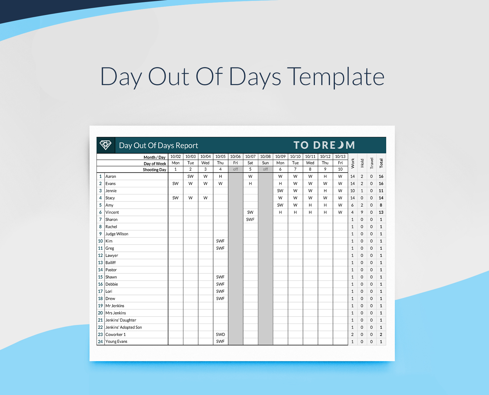 An example of free Day Out of Days spreadsheet template