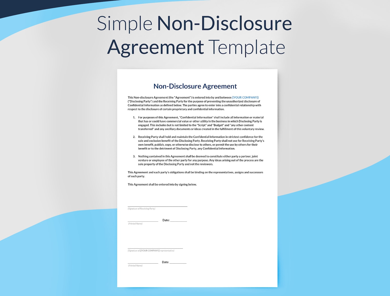 Non Disclosure Agreement Template Preview - Film Production Templates  - Free Downloads -