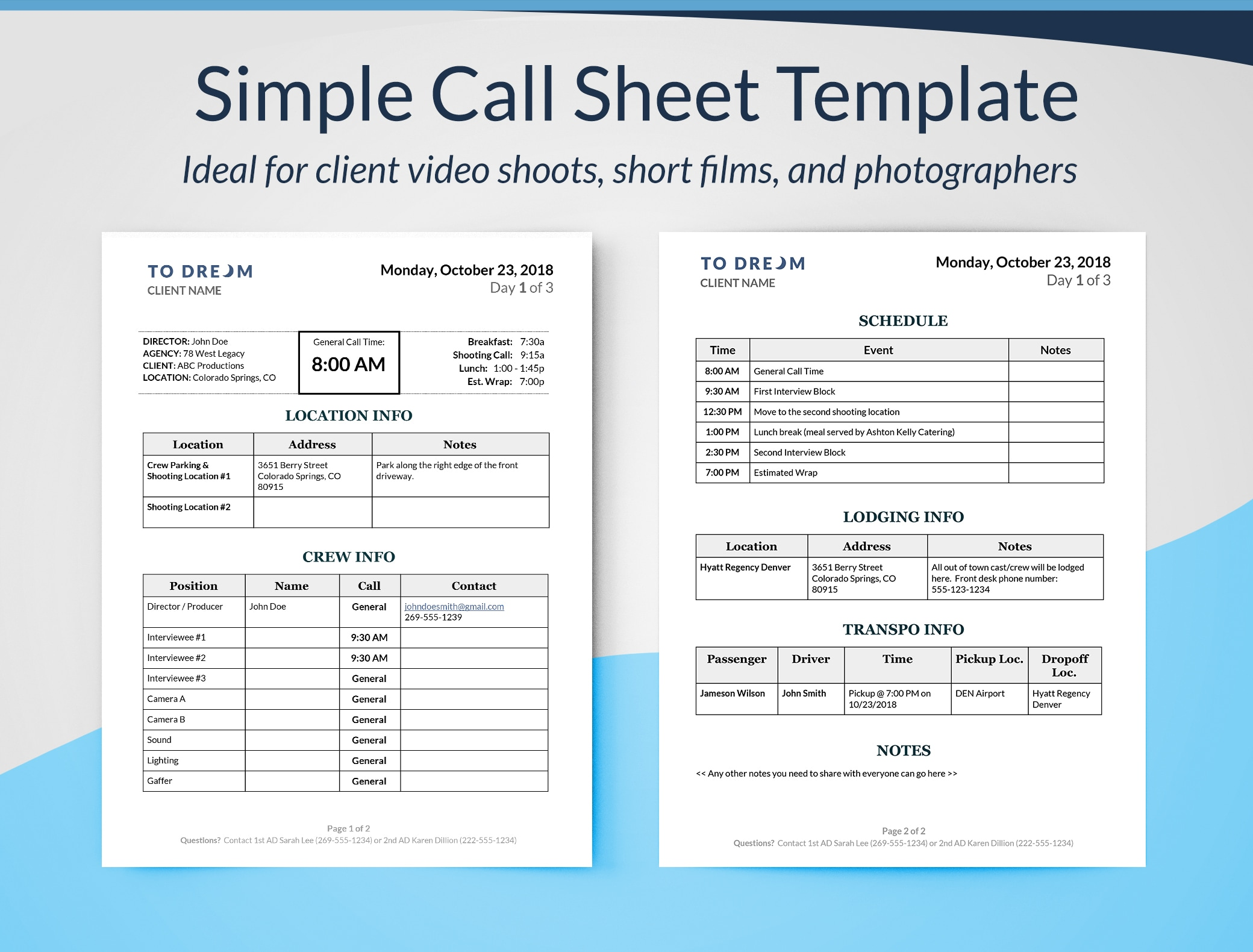 Simple Call Sheet Template For Word Example - Film Production Templates  - Free Downloads -