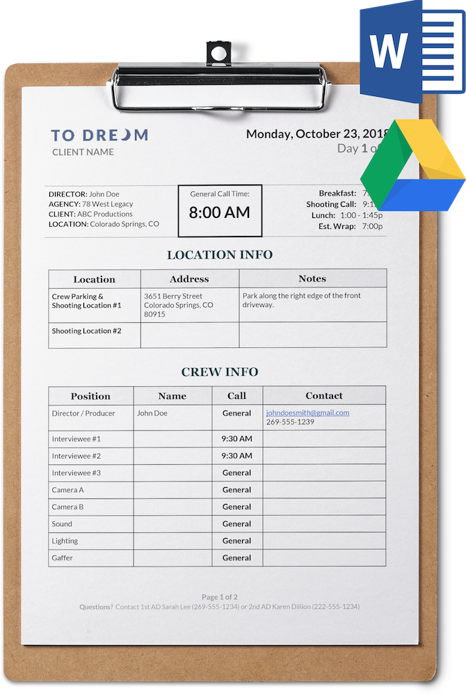 Simple Call Sheet Template for Word and Google Docs