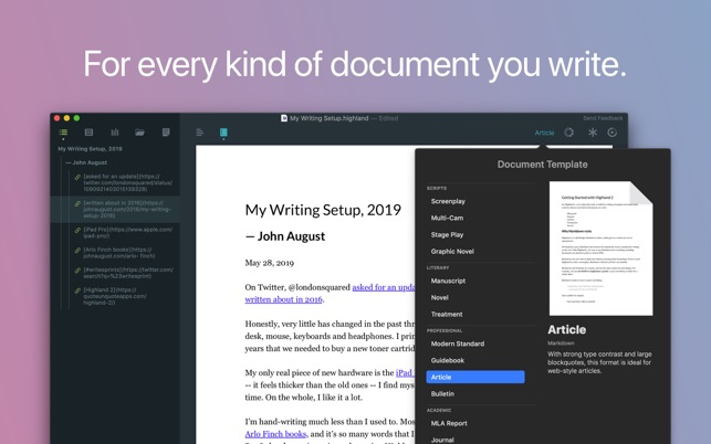 highland 2 Screenplay Software 2020 - The Best Script Writing Software For Screenwriters 2020 - tools-equipment, script, production-office, pre-production